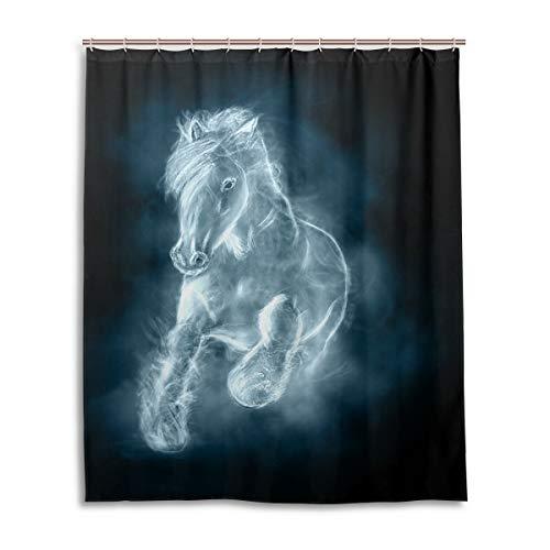 JSTEL Decor Duschvorhang weiß Pferd Laufende Wolken Muster Druck 100prozent Polyester Stoff Duschvorhang 152,4 x 182,9 cm für Home Bad Deko Duschvorhang