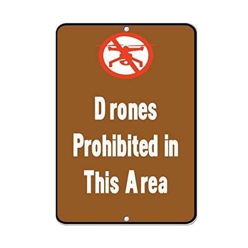 aqf527907 Drones Verboden in dit gebied Activiteit Waarschuwing Teken Grappige Metalen Tekenen en Plaque voor Huis Gate Decor 8x12 Inches