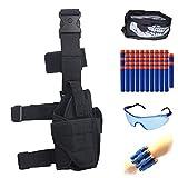 Ennrui Kids Adjustable Tactical Leg Holster Kit (Comes with 50pcs Blue Foam Darts+Protective Goggles+Seamless Face Mask+2pcs Refill Darts Wrist Belt) for Nerf Toy Gun N-Strike Elite Series (Black)