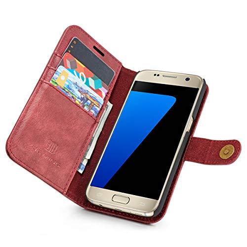 SZCINSEN Funda tipo cartera para Samsung Galaxy S7 de piel auténtica, 2 en 1 con tapa magnética, funda de piel de vacuno retro con ranura para tarjeta (color rojo)