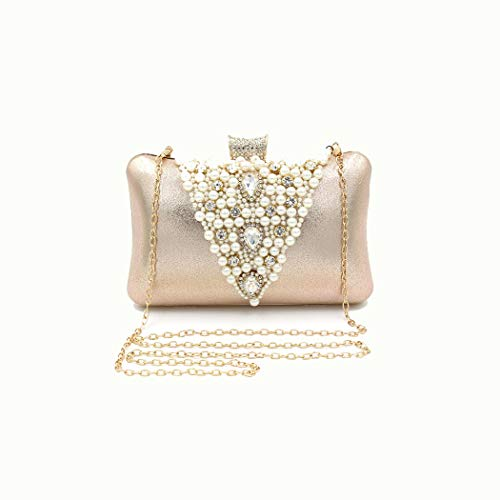 A-hyt Comfortable and convenient Ladies Pillow Handle Dinner Chain Bag Pearl Diamond Handmade Luxury Beaded Diamond Bag Easy hike (Color : Champagne color, Size : 20 * 7.5 * 13.5)