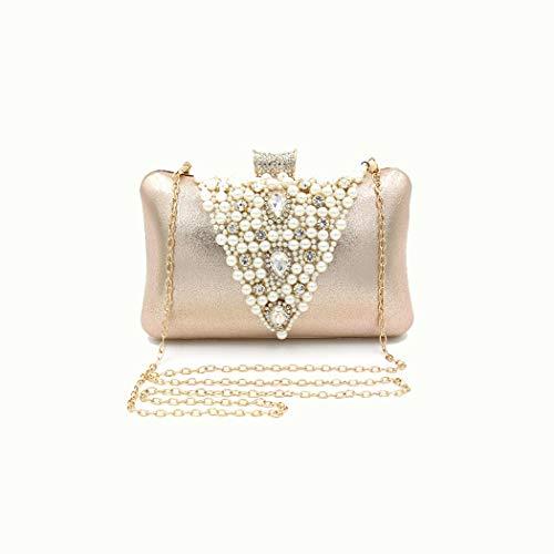 Y-hm Moda Bolsa de Cadena de la Cadena de la Cadena de la Almohada de Las señoras Pearl Diamond Hecho a Mano de Lujo con Cuentas de Diamante Diseño Ligero