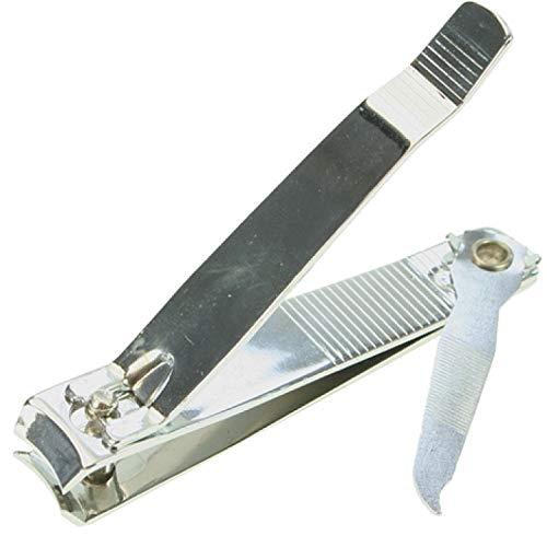 GROSSER Nagelknipser XXL 8cm vernickelt # Elina med # für Fußpflege # Pediküre # 3in1: Nagelschneider, Nagelreiniger, Nagelfeiler