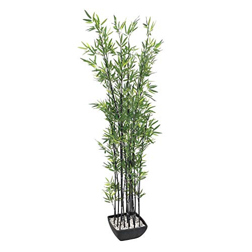 artplants - Künstlicher Bambus in Dekoschale, dunkle Kunststämme, 180 cm - Bambus im Topf/Künstliche Pflanze