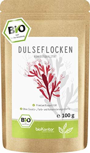 BIO Dulse Flocken 100g aus dem Atlantik | Dulse Algen aus Wildsammlung | 100% naturrein - Rohkost | vegan | palmaria palmata für Detox-Smoothie | Dulse von bioKontor