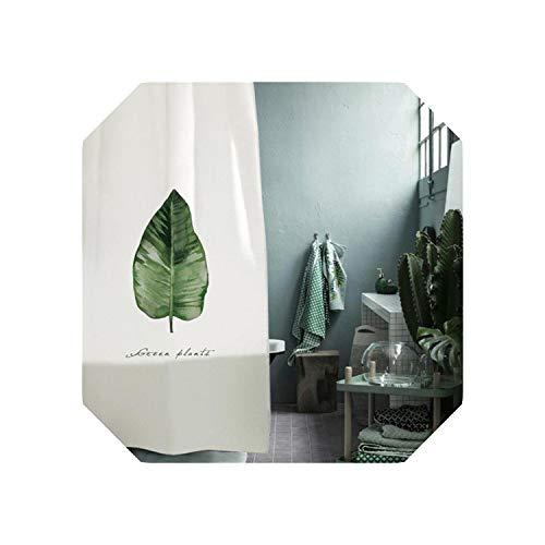 Cortina de ducha divertida |Cortina de ducha impresa de hojas Cortina de partición de baño de poliéster de moho impermeable Cortina de baño con ganchos Decoración para el hogar-2-W180xH180cm