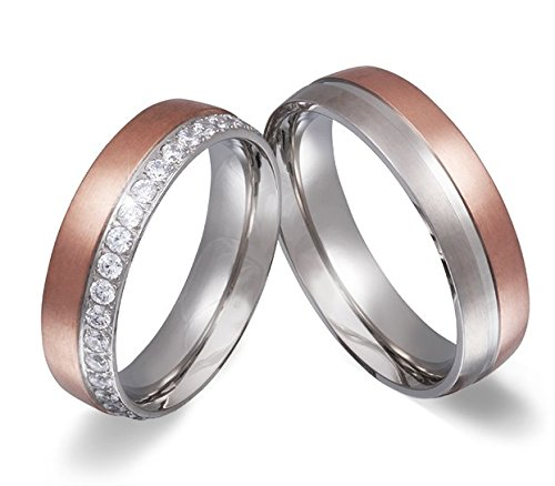 Adomio -Ringe 2 Eheringe Verlobungsringe Edelstahl Rosegold vergoldet - ca. 31 Zirkonia weiss gratis Wunschgravur E-EY-HD