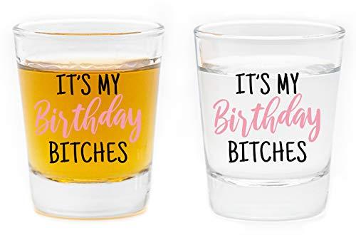 LitGifts Birthday Shot Glass Set   21st Birthday Gifts for Women   Funny Shot Glasses for Women   Cute Shot Glasses for Friend Sister or Girlfriend   2 Ounce Set of 2