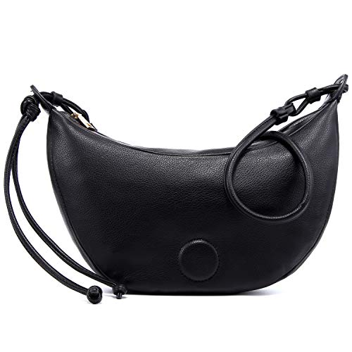 HORSE&TIGER Womens Cloud Crossbody Bag Clutch Purse with Dumpling Pouch Handbag (Black)