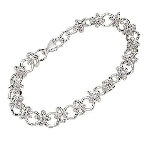 NKlaus Pulsera de plata de ley 925 de 19,5 cm, cadena de diseño, para mujer, con ancla fina 12831