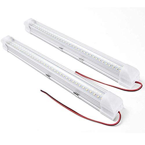 Lámpara de tira para automóvil, 2 piezas de 72 Leds Luces interiores para automóvil, DC 12V 4.5W Luz de tira universal, para el hogar / automóvil /camioneta / autobús / autocaravana / autocaravana