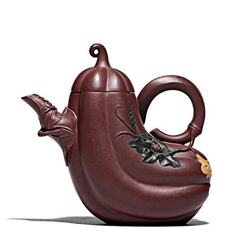 DX Zisha theepot, handgemaakte vintage retro unieke oosterse origineel ontwerp paars klei keramische thee pot, 350 ml, meloen vorm