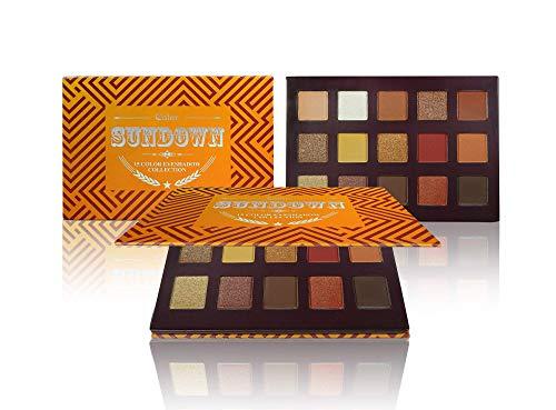 Ccolor Sundown 15 Color Eyeshadow Palette - Highly Pigmented - Professional Formulation - Warm Bronze Neutral Colors - Makeup Palette