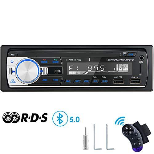 RDS Autoradio Bluetooth Manos Libres, CENXINY 4 x 65W Radio de Coche Bluetooth 5.0 LCD con Reloj, Soporte USB/AUX en FM/Am / MP3 / WMA/WAV/MPE/RDS Radio de Coche Estéreo