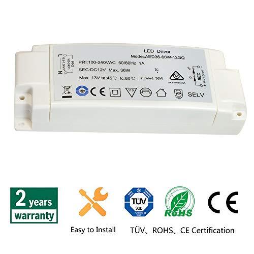 LED transformator 36W 3A für MR16 GU5.3 MR11 LED lampen, AC240V zu DC12V LED Driver, 1er Pack, Aiwode.