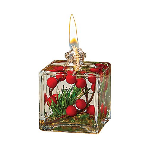 WHITE RIVER DESIGNS Oil-Burning Candle, Liquid Paraffin Filled Glass Cube with Red Berries, Refillable Candle