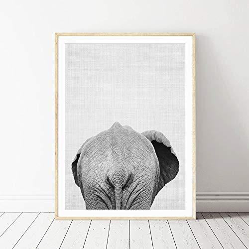 Dierolifanten ezel canvas drukken modern decoratief muurschildering zebra schilderij op canvas bad muurkunst grappige decoratie zonder lijst