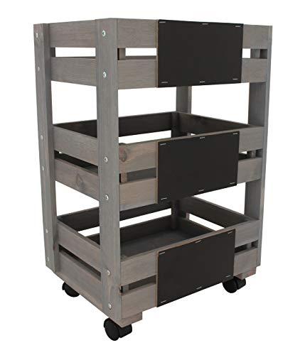 Dehner Regalwagen auf Rollen mit Tafeln, ca. 89.4 x 37.6 x 28 cm, Holz, grau/braun
