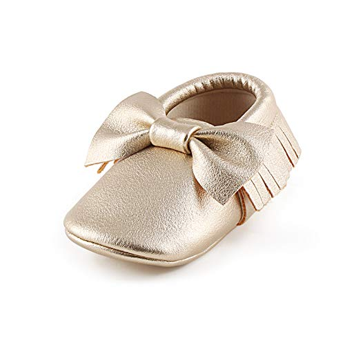 OOSAKU Infant Tolddler Baby Soft Sole PU Leathe Bowknots Shoes (6-12 Months, Gold)