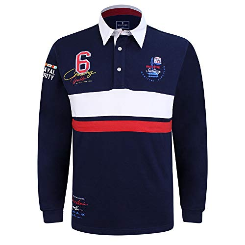 SAVALINO Men's Long Sleeve Polo Sailing Rugby Shirt with Twill Collar, Heavy Jersey, Sport & Leisure Wear Navy