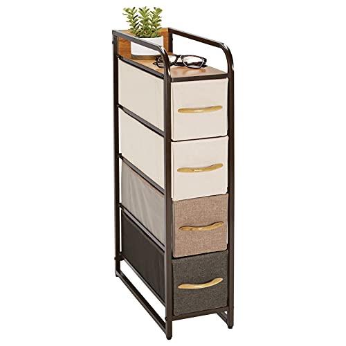 mDesign Comodino multiuso con 4 cassetti – Organizer in stoffa, metallo e legno – Cassettiera snella e ideale per camera da letto, corridoio o dispensa – marrone e multicolore