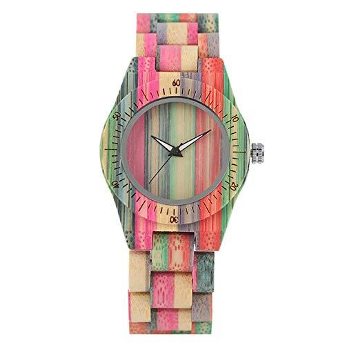 WFE&QFN Hölzerne Uhr Bambus Holz Damenuhr Quarzwerk Kreative Bunte Holz Damen Armreif Armbanduhr Analoganzeige Weibliche Uhr, nur Uhr