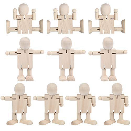 WOWOSS 10 Pack Unfinished Wooden Robot Bodies  Joint Adjustable Wooden Figures  Wooden Doll Toys for Painting  Craft Art Projects Decoration
