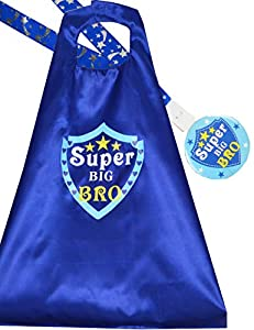 "Big Brother Gift: A cute Big Brother Gift ideas of Big Brother outfit for New Big Brother Gifts. This Big Little Brother Gifts set contains one Big Brother Cape with printed words ""Super Big Bro"", one Big Brother Badge with printed words ""Super Big B..."
