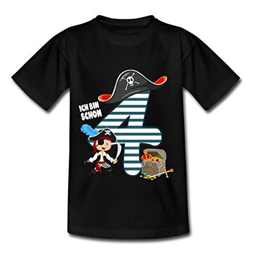 Spreadshirt 4. Geburtstag Schon Ich Bin Vier Pirat Schatz Kinder T-Shirt, 110-116, Schwarz