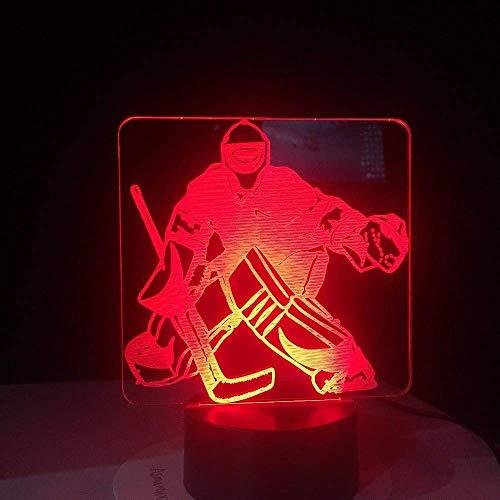3D-Modellierung Tischlampe aus Eishockey Torwart 7 Farben ändern Led Nachtlicht USB Schlafzimmer Schlafen Beleuchtung Sport Geschenke Geschenke für Wohnkultur