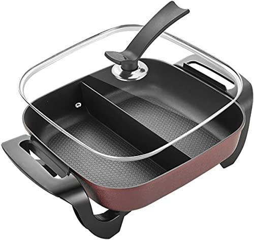BBQ Smokeless Grill 42cm Multicooker elettrico con controllo della temperatura regolabile  1500W  .Non-stick  Coperchio in vetro  .Facile pulito  .Cena della colazione Una casseruola multifunzione
