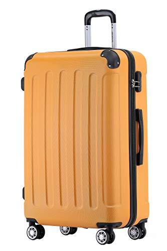BEIBYE Hartschalen-Koffer Trolley Rollkoffer Reisekoffer Handgepäck 4 Rollen (M-L-XL-Set) (Orangen, L)