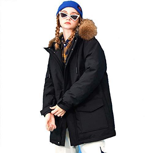 WAY Abrigo de invierno 2020, con capucha recortada, parka con bolsillos, para parejas, chaqueta de plumón, invierno, grueso, para esquí, color negro, XXXL