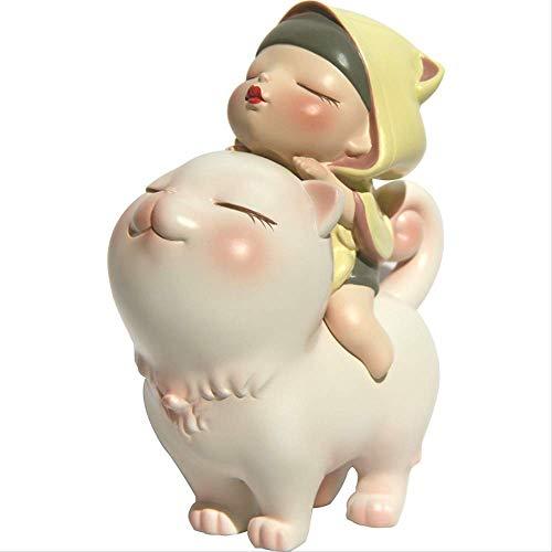 IUYJVR Estatuas Modernas Escultura Artículos Decorativos Noche Blanca Cuento Infantil Chica Figuras de Animales Corazón Oficina Sala de Estar Artesanía Decoración Estatuas