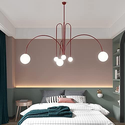 Yinyimei Lámpara Colgante Glass Ball Chandelier Iluminación Negro Rojo Oro para la Sala de Estar Oficina de Dormitorio Nordice Colgante Luz de Luminaria G9
