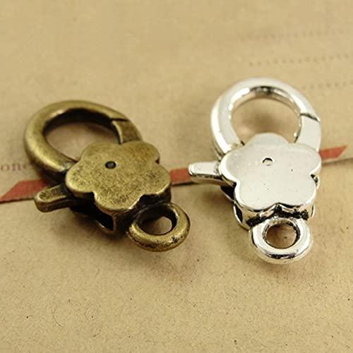 10 unids DIY plata antigua ciruela flor langosta corchete ganchos para collar pulsera cadena joyería fabricación componentes 16*27mm