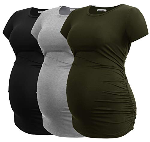 Smallshow Women's Maternity Shirt Side Ruched Tunic Pregnancy Top Clothes 3-Pack Black/Light Grey/Army Green Large
