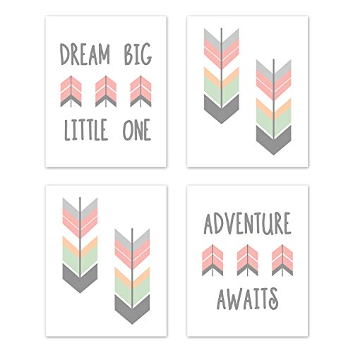 Sweet Jojo Designs Grey, Coral and Mint Woodland Arrow Wall Art Prints Room Decor for Baby, Nursery, and Kids for Mod Arrow Collection - Set of 4 - Dream Big Little One