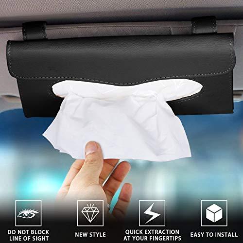 2Buyshop 2 Pack Car Tissue Holder, Sun Visor Napkin Holder, Tissue Box Holder, PU Leather Tissue Box, Backseat Tissue Purse Case Holder for Car (Black)