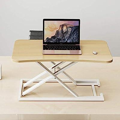 Office Standing Desk Height Adjustable,Workstation Screen Riser Portable Laptop Table Ultra Slim Folded Design Home-Black 73x47cm29x19inch WDDT (Color : Wood Color, Size : 73x47cm(29x19inch))