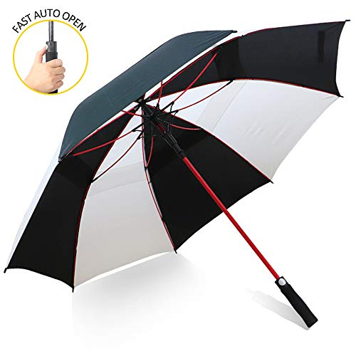 ZOMAKE Grand Parapluie Golf Automatique 158cm Double Canne, Anti UV, Parapluie Solide pour Homme Femme 8 Baleines (Noir/Blanc)