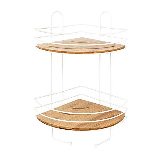 Eckregal für die Wand, Weiß, dekoratives Regal aus Metall mit 2 Einlegeböden aus Holz, für Küche, Bad und Wohnzimmer (24 x 24 x 45 cm)