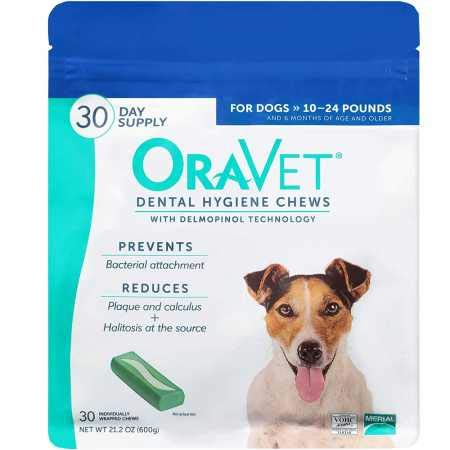 Merial Oravet Dental Hygiene Chew For Dogs (10-24 Lbs), Dental Treats For Dogs, 30 Count