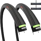 Fincci Set Paar 700 x 23c Reifen mit Sclaverandventil Schläuchen und 2,5 mm Pannenschutz für Radrennen Straßenrennen Tourenrad Fahrrad (2er Pack)