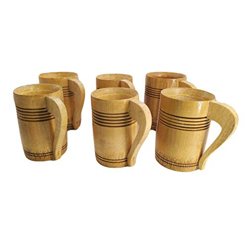 Handmade Shot Glasses Mug 6 Piece Set   Bamboo Art Hand Crafted Wooden Glasses Bachelor or Bachelorette Party Drinks - Tequila Vodka Whiskey Wine Tea Coffee Best Authentic Christmas and New Year Gift