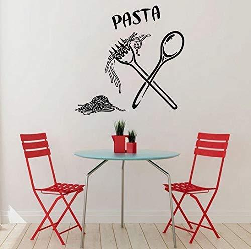 Pasta Pegatinas De Pared Comida Comida Cuchara Cuchara Pegatinas Calcomanías De Pared Cafe Cocina Azulejo Decoración De Pared Vinilo Decoración De Pared 44X44Cm