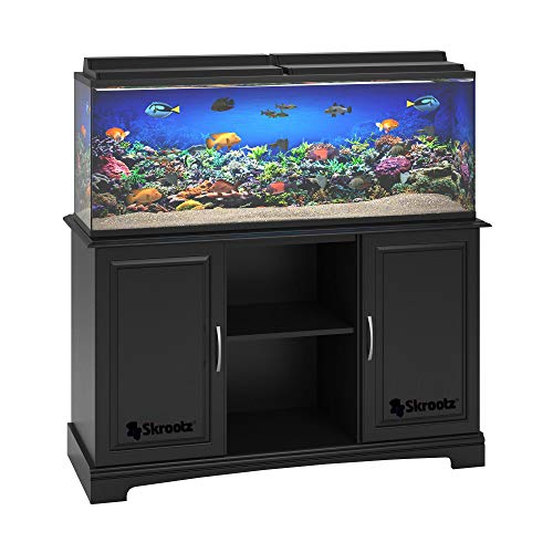 Skrootz - Black 55 Gallon Aquarium Stand Great for 50-75 Gallon Tanks Made of Laminated Particleboard and MDF
