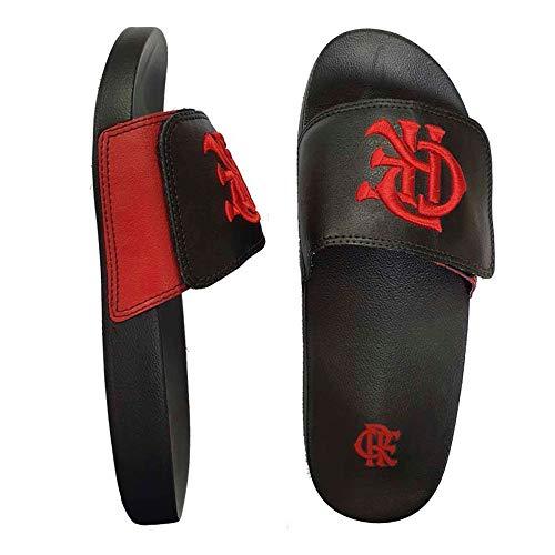 Chinelo Flamengo Slide Velcro CRF Bordado Preto/Preto 2019 33/34