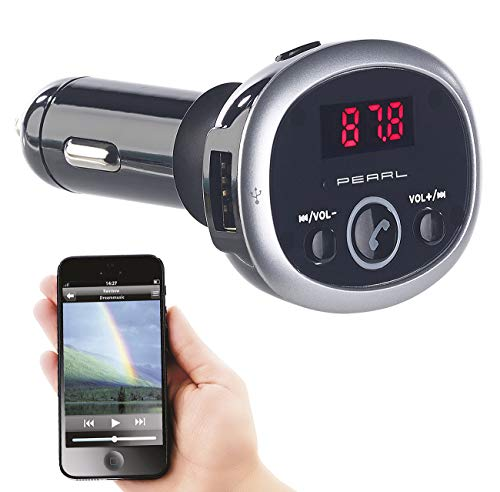 auvisio Kfz Transmitter: MP3-FM-Transmitter mit Bluetooth, Freisprecher, USB-Port, für 12/24 V (Transmitter Auto Bluetooth)