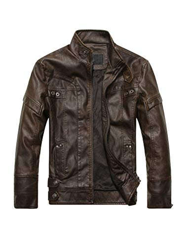 PASOK Men's Faux Leather Jacket Vintage Stand Collar Motorcycle PU Leather Outwear Coat Coffee M